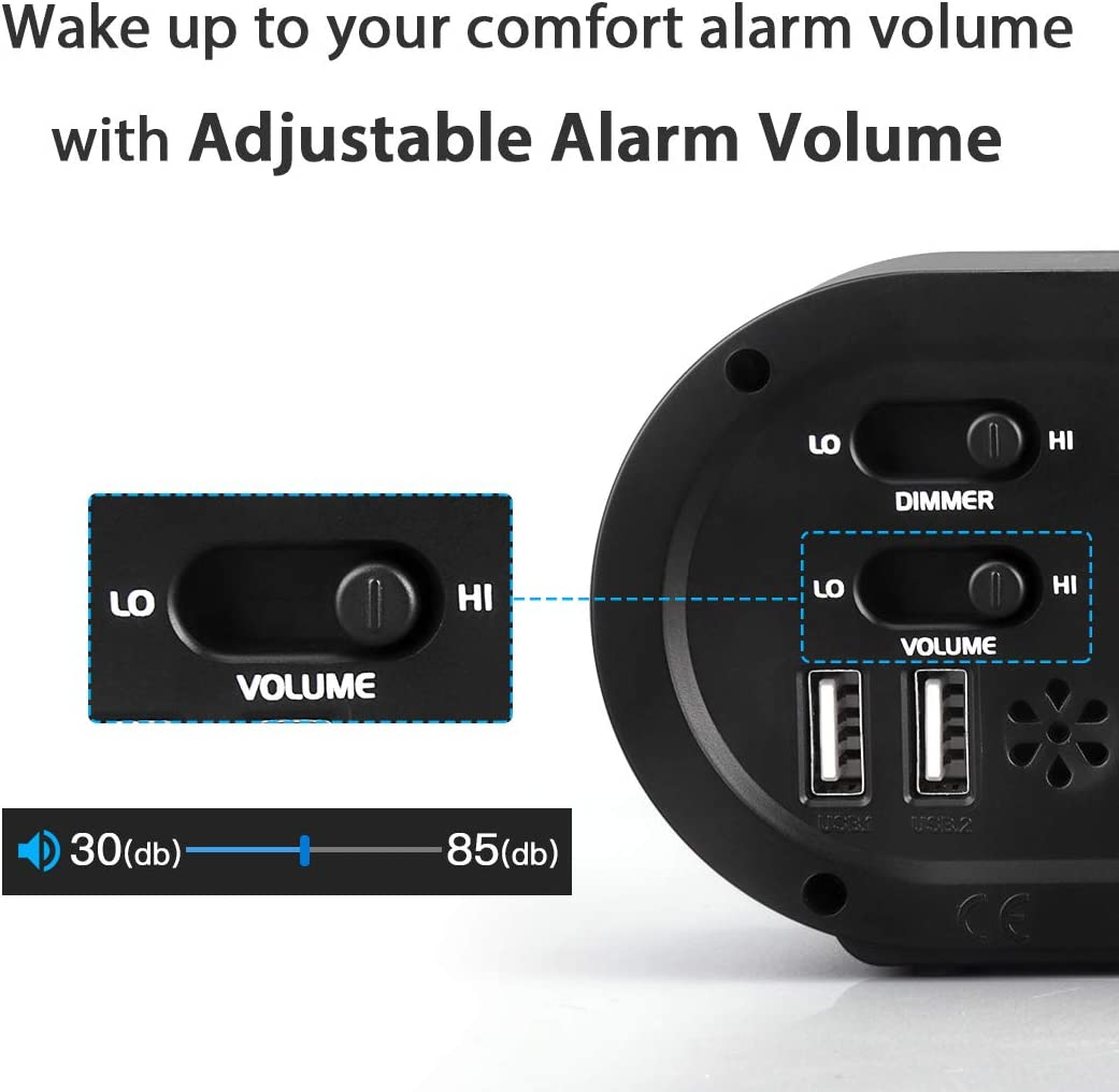 porte USB per la ricarica di smartphone e tablet anziani sveglia digitale da comodino con funzione snooze Reacher batteria e alimentazione elettrica per bambini