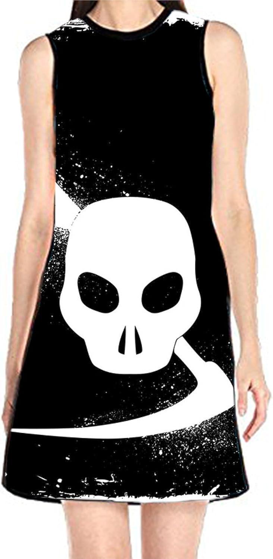 aportt Shift Dress Sleeveless Tank Dresses Tribal Skull Printed Beach Suit for Women