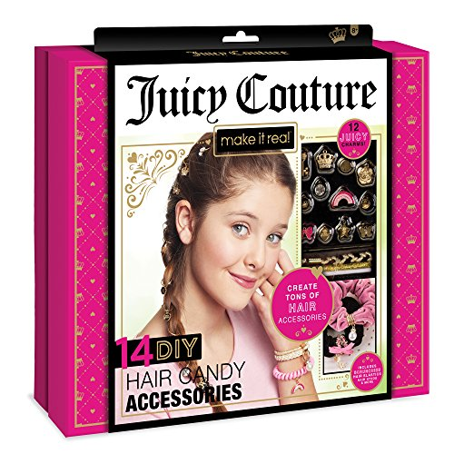 Make It Real - Juicy Couture Hair Candy Accessories. Tween Girls Hair Accessories and Charms Kit. DIY Girls Hair Ties, Velvet Scrunchies, Beaded Bobby Pins, Gem Stickers, Juicy Hair Charms and More