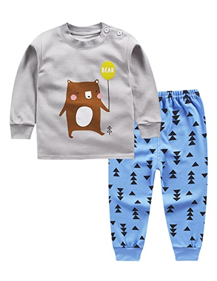 Zantec Pijamas 2 piezas ropa interior del bebé ocasional conjunto de manga larga camiseta pantalones largos