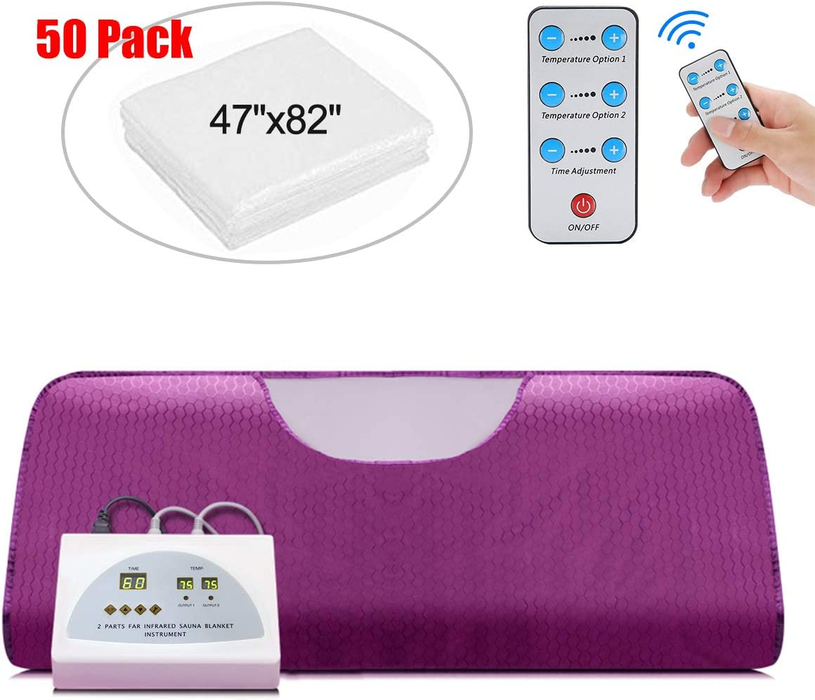 VANELL Sauna Blanket Upgraded Version Far-Infrared Digital Heat Sauna Heating Blanket, 2 Zone Controller with 50pcs Plastic Sheetings, to Reduce Weight Thin Body Home Beauty (Purple)