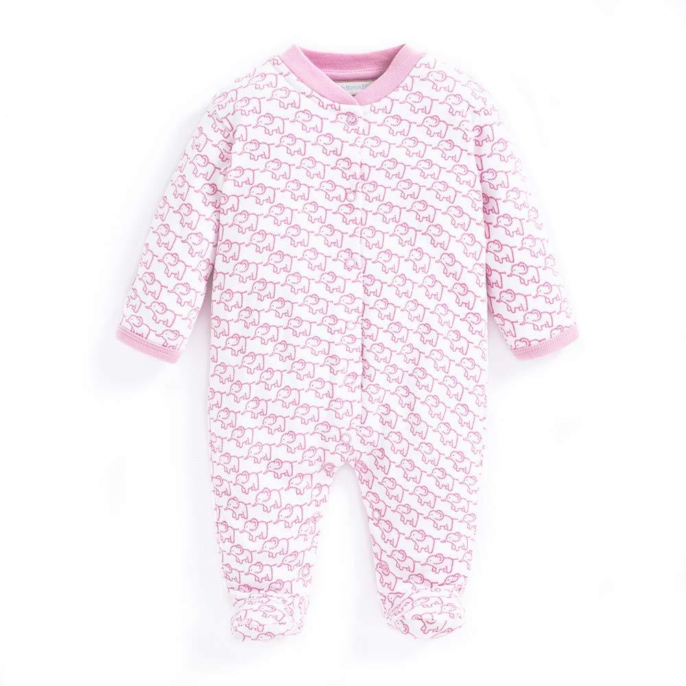 JoJo Maman Bebe Little Elephants Pink Baby Sleepsuit Footie Romper RRP £16