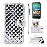 Nokia Lumia 520 Case, Mellonlu Handmade 3D Bling PU Leather Flip Wallet Credit Card Cover Case for Nokia Lumia 520, with Free Stylus Pen + Screen Protector + dust plug
