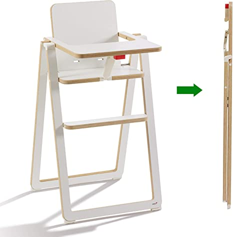 SUPAflat - Chaise Haute - Chaise Pliable Ultra Plate - Hauteur de Bar -  Bois - Blanc