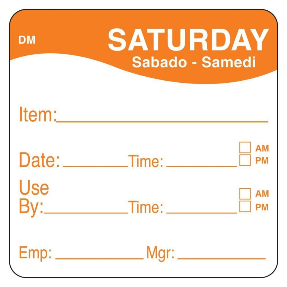 DayMark 1100536 DissolveMark 2'' Saturday Use By Day Square - 250 / RL