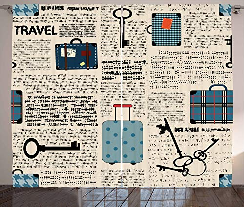"""Ambesonne Old Newspaper Curtains, Retro Styled Travel Vacation Theme Vintage Suitcases Keys Dot Text, Living Room Bedroom Window Drapes 2 Panel Set, 108"""" X 108"""", Black Cream"""