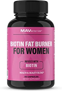 Biotin Fat Burner for Women 5000 mcg Biotin | Supports Weight Loss & Appetite Suppressant Diet Pills with Apple Cider Vinegar, Green Tea Extract | Gluten Free, Non-GMO, Vegetarian Friendly | 60 Count