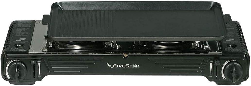 Plancha grill gas 2 fuegos Piezo 4400 W FIVESTAR 2 en 1 + Hornillo de gas portátil con maletín