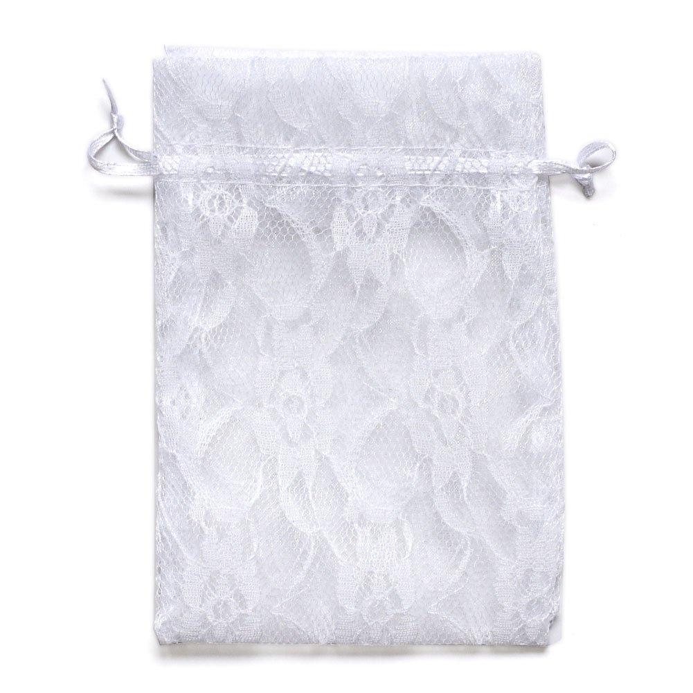 Amazon.com: Ling\'s moment 50pcs White Lace Gift Bag Organza ...