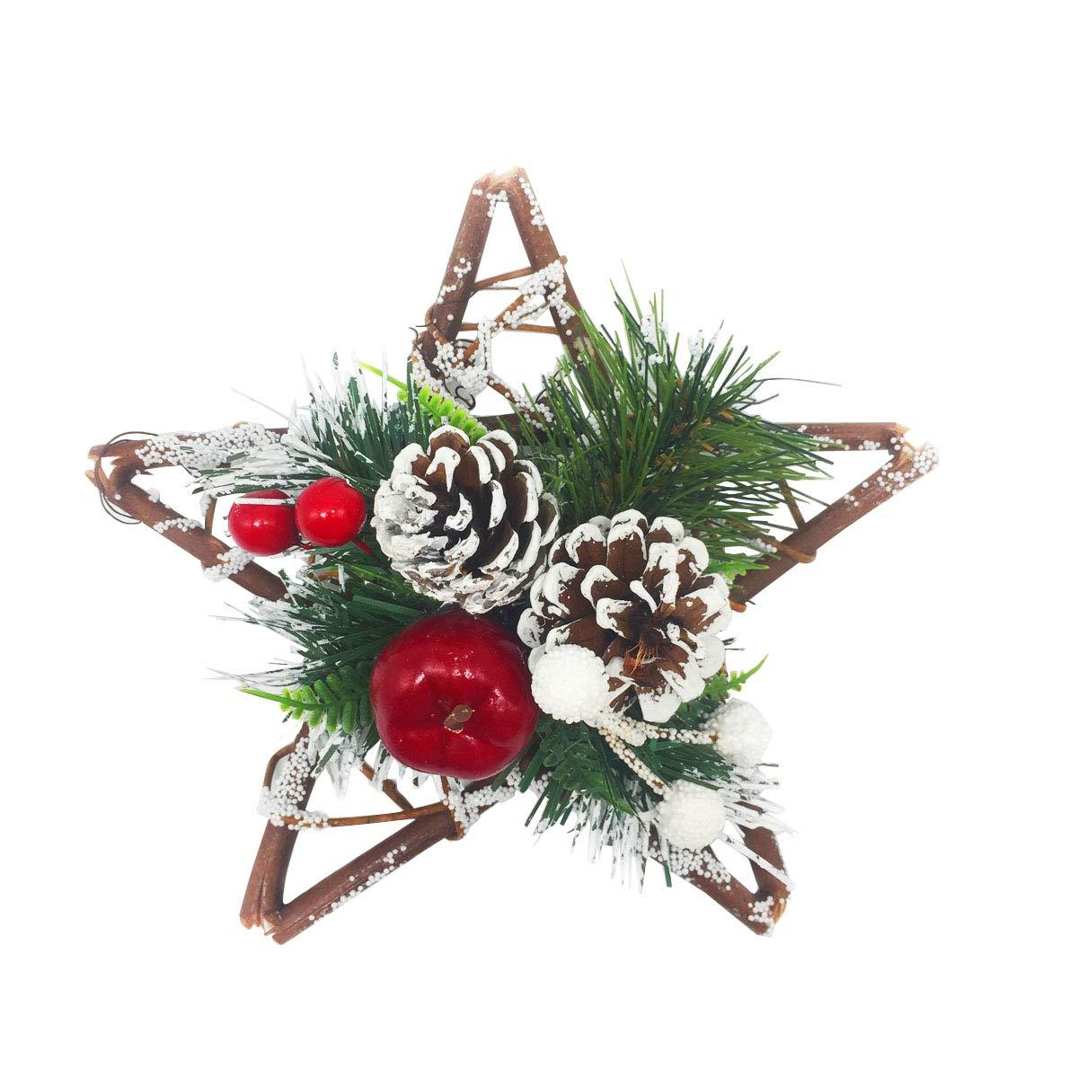 HOMETOOK Christmas Wreaths for Front Door - 8 inch Pentagram Yule Wreaths- Christmas Decorations - Seasonal Ornaments (8inch)