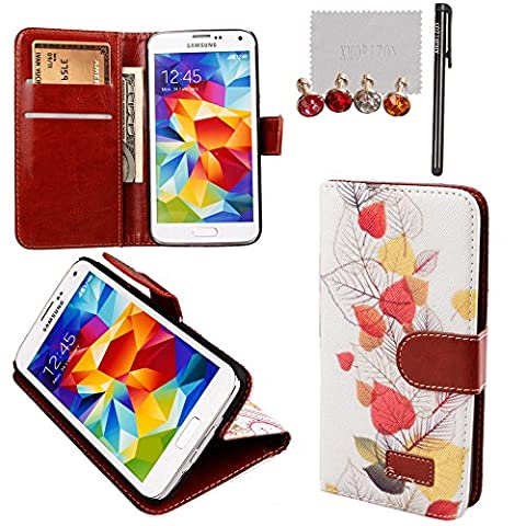 xhorizon TM New Floral Leaf Style Wallet Folio Flip Magnet Stand Leather Case Cover with Credit Card Holder for Apple iPhone 4S 5S Samsung Galaxy S3 S4 S5 Note N7100 N9000 with stylus and xhorizon cleaning (Cover De Samsung Galaxy 5s)