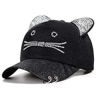 Snapback Cute Cat Ears Pink Baseball Cap Women s Hats Lovely Cat Adjustable  Sunscreen Caps Casual Drake baec823cde0