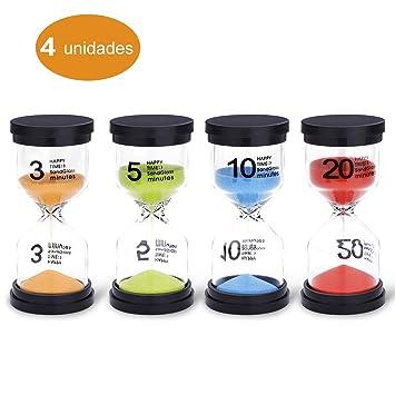 JUNDUN Reloj de Arena Temporizador de Arena en 4 Colores 3/5/10/