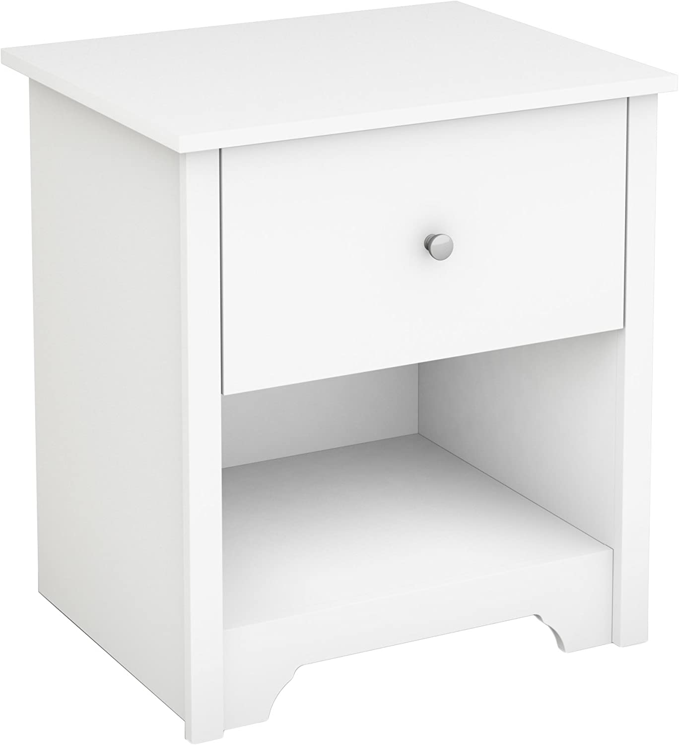 South Shore Vito 1-Drawer Nightstand, Pure White with Matte Nickel Handles