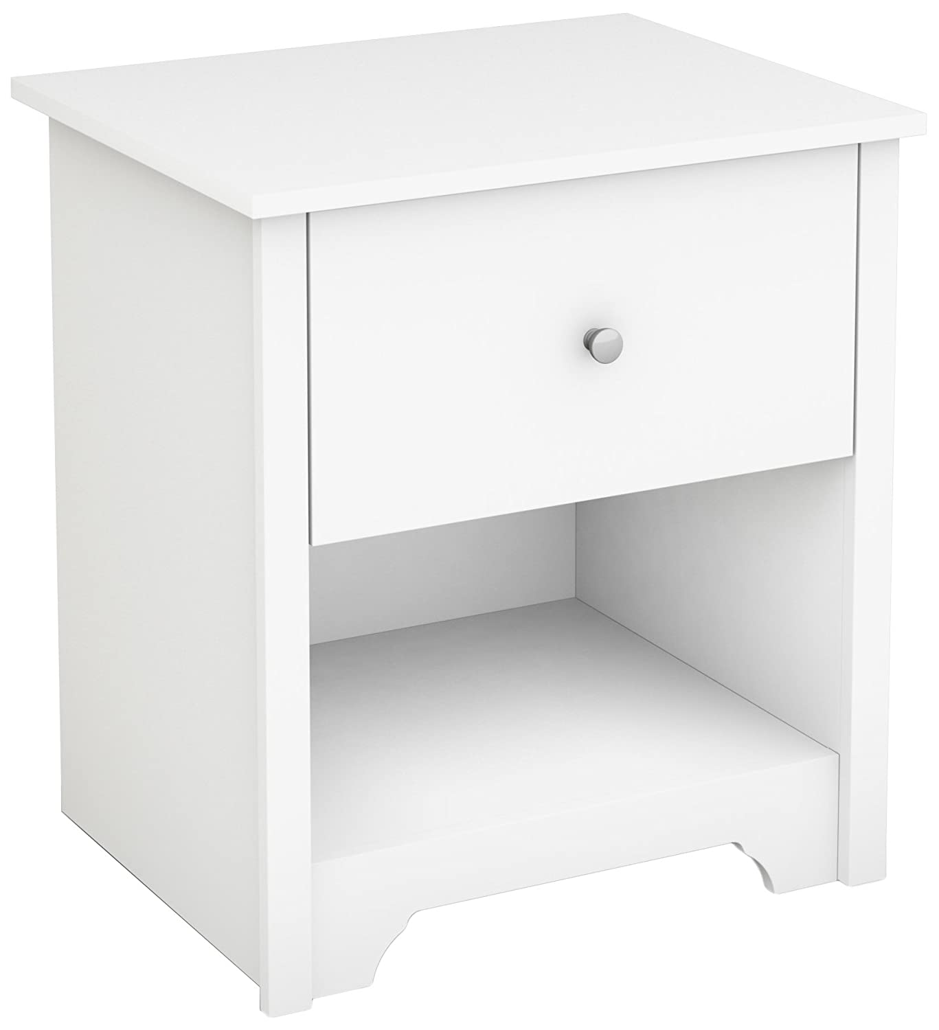 Black with Matte Nickel Handles South Shore Vito 1-Drawer Nightstand