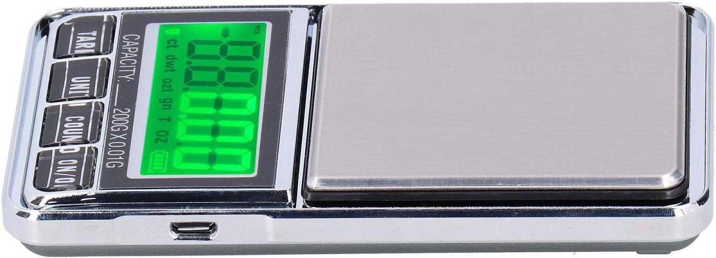 Báscula de peso, mini báscula eléctrica con luz de fondo verde, báscula para joyería, para cocina casera(0.01/200G)