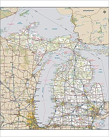Amazon com: 10x8 Print of Michigan highway map (14432011): Posters