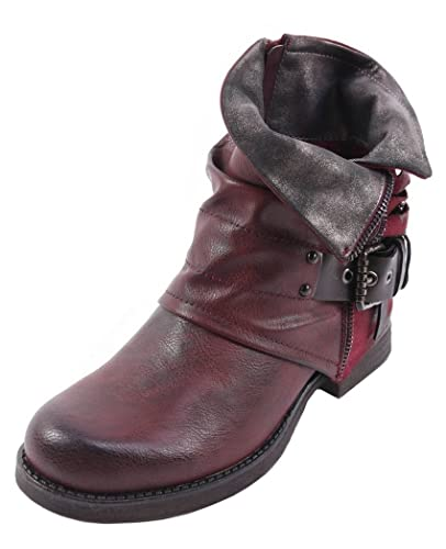 1bab3552c SHU CRAZY Womens Ladies Faux Leather Distressed Look Zip Up Low Block Heel  Fashion Biker Ankle