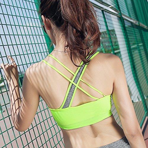 Keysui para Mujer Estilo Racer back Para Yoga, Estiramiento, Running Verde