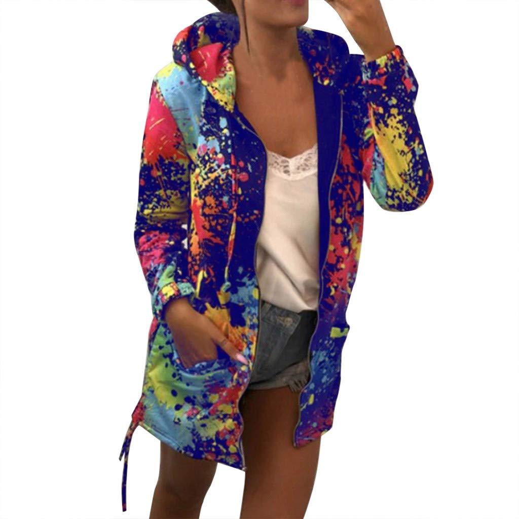 Cuekondy Women Long Sleeve Sweatshirt Overcoat Tie Dyeing Print Coat Casual Hoodie Pocket Outwear Hooded Jacket