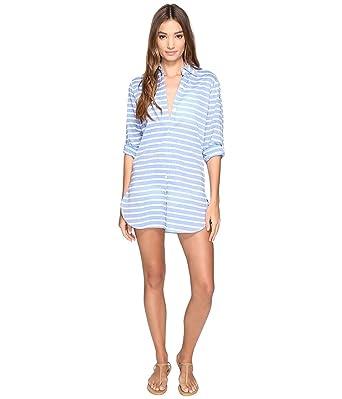 c3dc1af9f0d1d Tommy Bahama Women's Breton Stripe Boyfriend Shirt Cover-Up Vivid Blue  Swimsuit Top