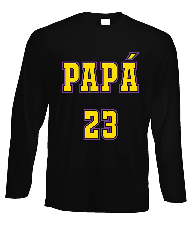 fashwork Tshirt a Maniche Lunghe Basket papà n°23 - Festa del papà - Happy Father's Day - in Cotone by fshlX03