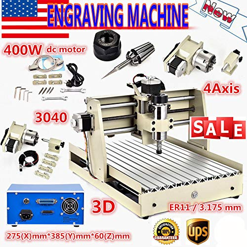 3040 4Axis 400W Router Desktop Engraver Engraving Drilling & Milling Machine Drill Wood DIY Artwork Woodworking Cutter Parrallel Cable