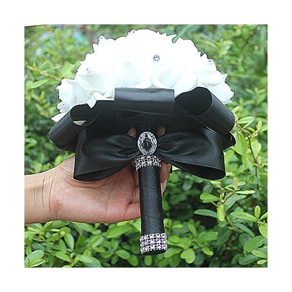 Manga Dua Crystal Pearl Silk Roses Bridal Bridesmaid Wedding Bouquet Wedding Flowers Black Pack of 4
