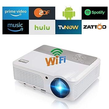 WiFi Bluetooth Inicio LED Proyector de Video HDMI HD 1080P Soporte LCD Inalámbrico Inteligente Android Proyectores de películas HDMI al Aire Libre USB ...