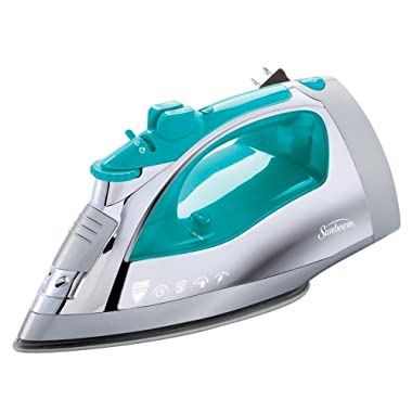 Sunbeam Steam Master Iron | 1400 Watt Large Anti-Drip Nonstick Stainless Steel Iron with Steam Control and Retractable Cord, Chrome/Teal