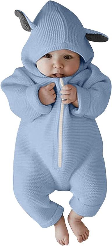 Haokaini Newborn Baby Ear Hooded Knitted Romper Snowsuit Bodysuit Overalls for Boy Girl