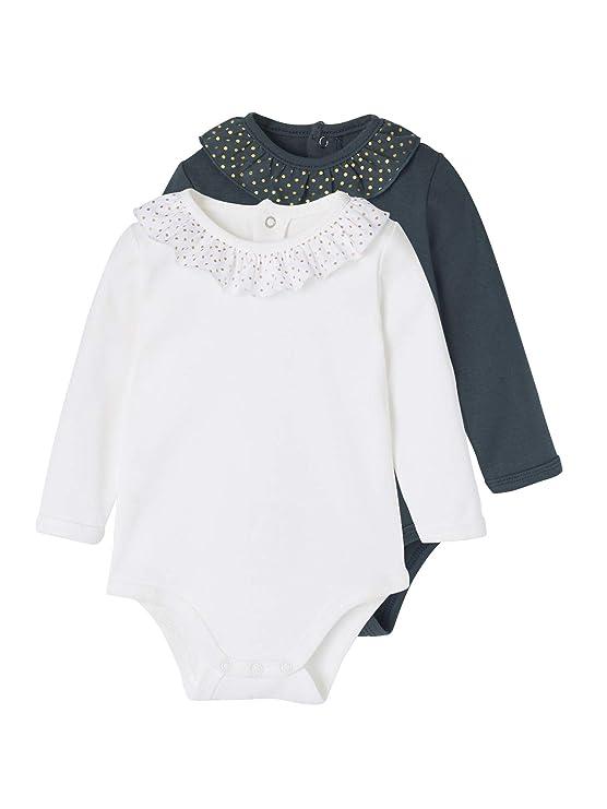Vertbaudet Lot de 2 Bodies bébé Fille col volanté Lot Bleu 6M - 67CM   Amazon.fr  Vêtements et accessoires 66b18dcda11