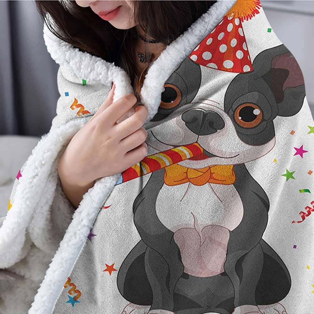 Willsd Kids Birthday Sherpa Fleece Blanket Baby Cow Animal and Colorful Balloons on Abstract Polka Dot Backdrop Print Personalized Baby Blanket Multicolor W59 x L78