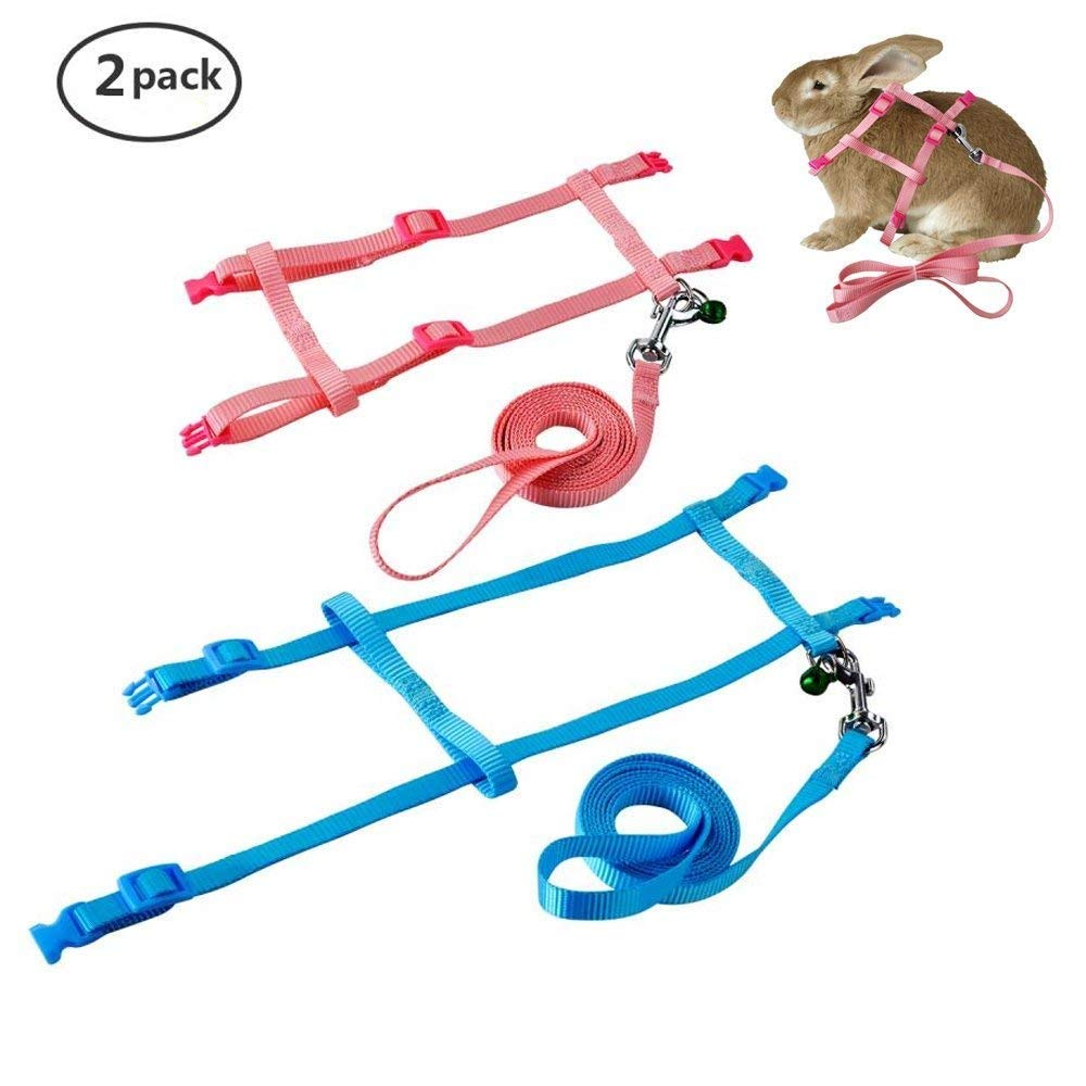 Persuper 2 Pack Pet Rabbit Harness Leash For Soft Bunny Ring Universal Up To 55 Inch Nylon Running Walking Jogging With Safe Bell Cat Kitten