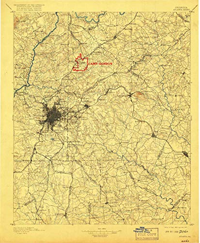YellowMaps Atlanta GA topo map, 1:125000 Scale, 30 X 30 Minute, Historical, 1895, Updated 1917, 20 x 16.5 in - Polypropylene