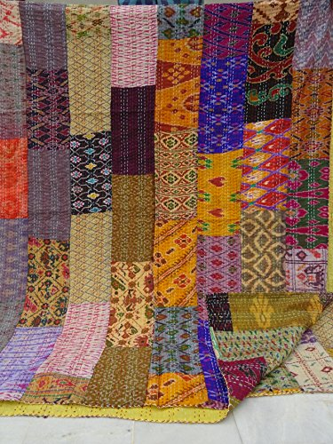 Patola Silk Patch Work Kantha Quilt , Kantha Blanket Bedspread, Patch Kantha Throw, King Kantha, Kantha Rallies Indian Sari Quilt, Size 90 X 108 001