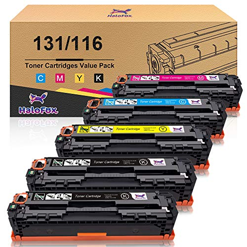 (HaloFox Compatible Toner Cartridge Replacement for Canon 131 131H 116 imageClass MF624Cw MF628Cw MF8230Cn MF8280Cw LBP7100Cn for HP 131A 131X (Black, Cyan, Yellow, Magenta, 5 Pack))