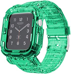 Tomcrazy Compatible for Apple Watch Bands Case 44mm/42mm/40mm/38mm, Crystal Clear Transparent Integrated Bumper Sports Wristband Strap iWatch Series 6 /SE/5/4/3/2/1 (Crystal Green#2, 42mm/44mm)