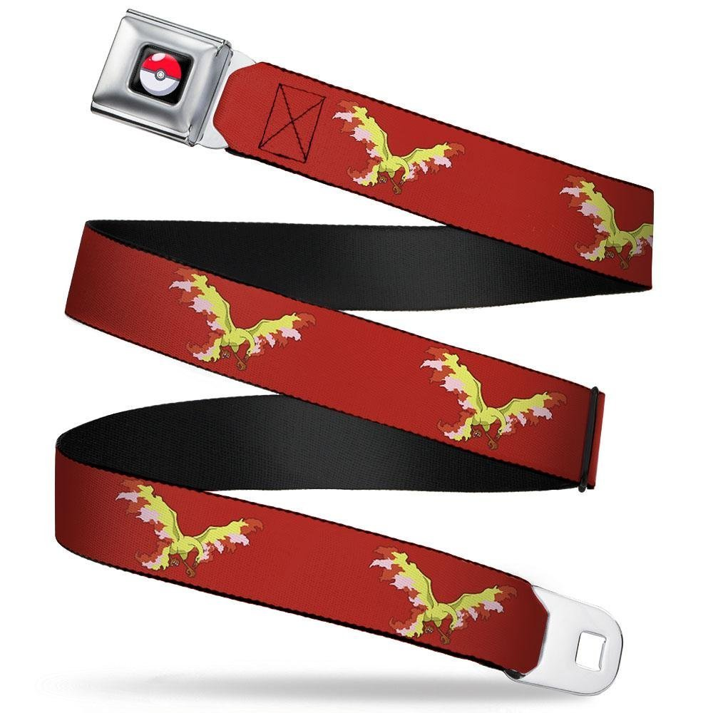 20-36 Inches in Length Moltres Fire Flying Pose1 Red 1.0 Wide Buckle-Down Seatbelt Belt