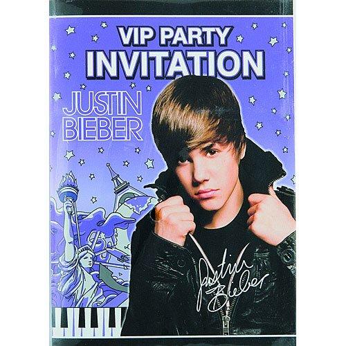 Justin Bieber Invitations, 8ct