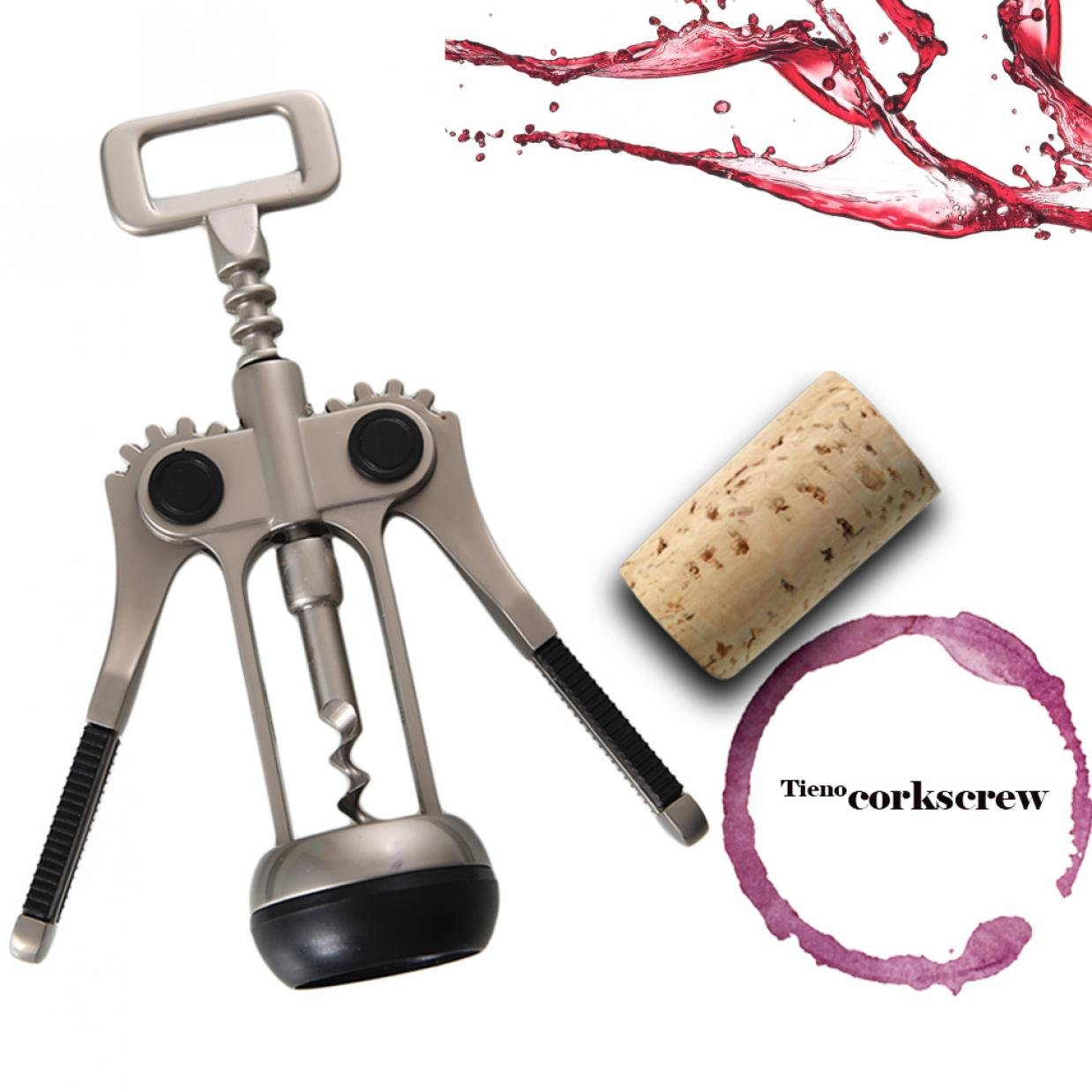 TIENO Premium Wing Corkscrews Wine Opener Durable 2 Functions Red Wine Bottle Opener Heavy-dust, Dignified Appearance