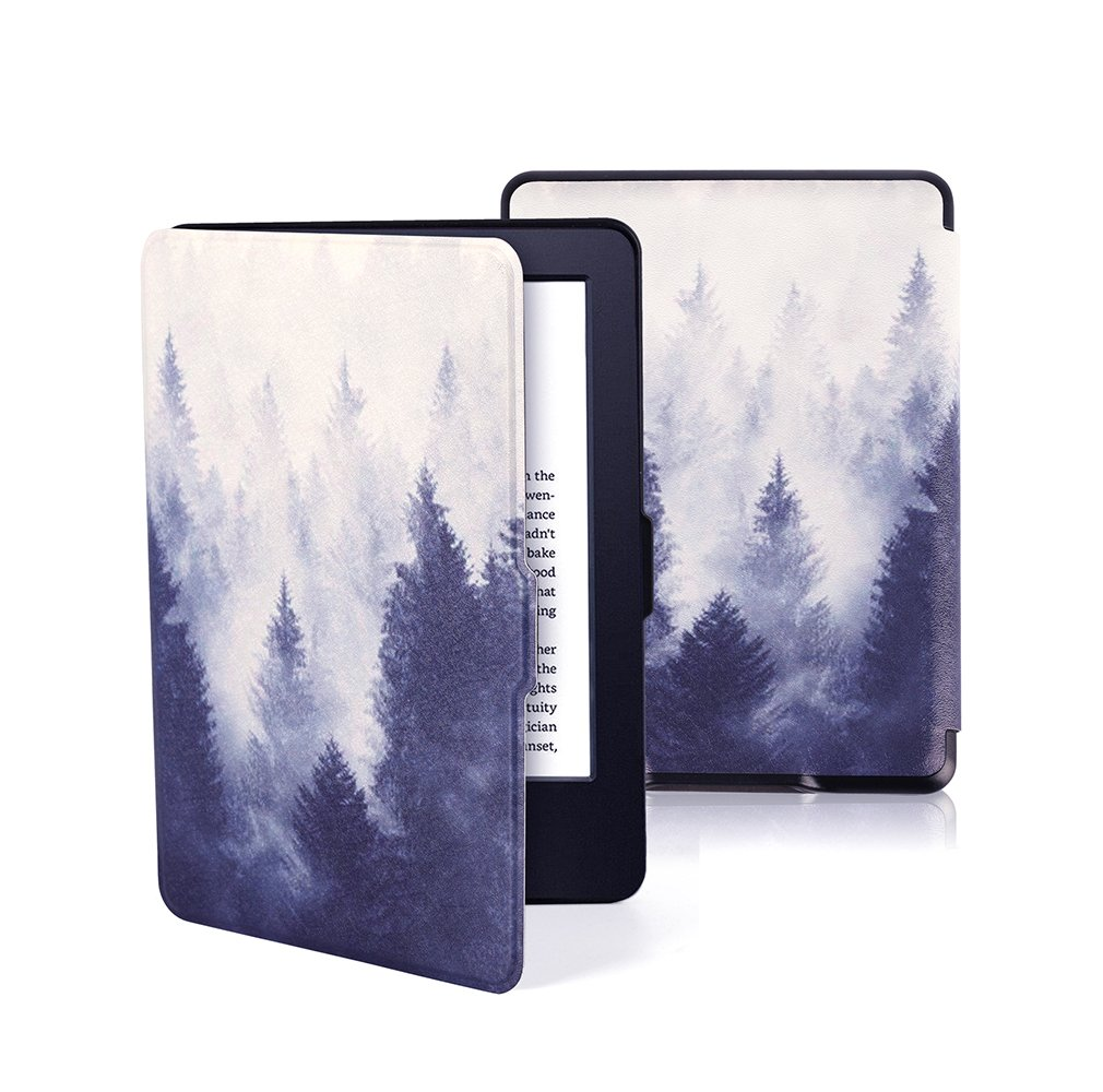 EZYOO PU Smart Case Cover for Amazon Kindle E-reader Paperwhite all version Auto Sleep / Wake Mist Forest Black by EZYOO