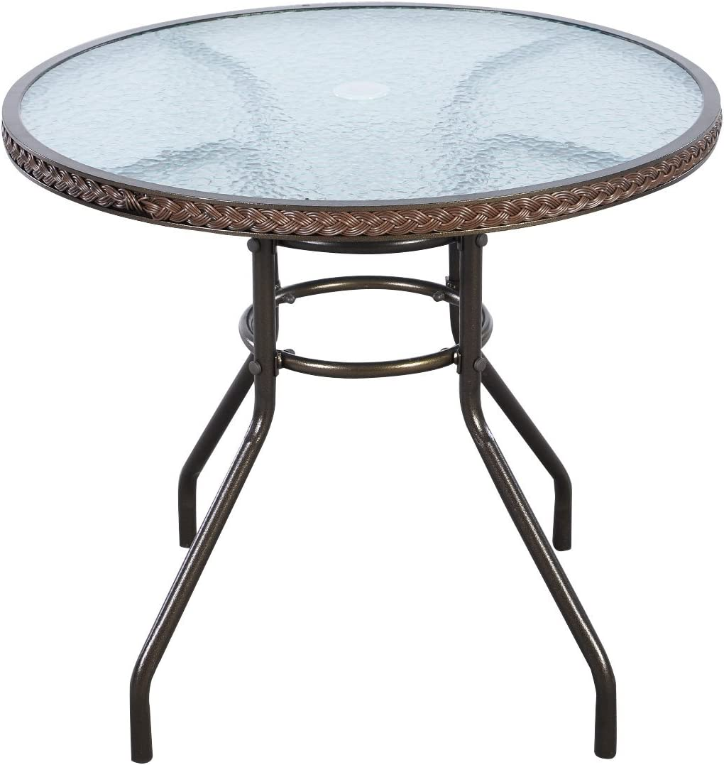 "TANGKULA 32"" Patio Table Outdoor Round Wicker Covered Edge with Tempered Glass Top and Umbrella Insert Coffee Dining Tabel Patio Furniture for Lawn Garden Pool Steel Frame Commercial Party Table: Kitchen & Dining"