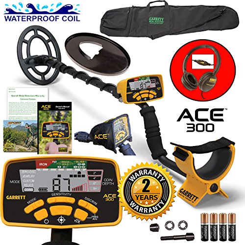 Garrett-ACE-300-Metal-Detector-with-Waterproof-Search-Coil-and-Carry-Bag