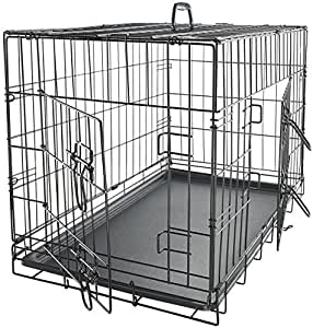 Paws & Pals Dog Crate Double-Door Folding Metal - Wire Pet Cage w/Divider & Tray for Training Pet Supplies & Accessories - 2020 Newly Designed Model