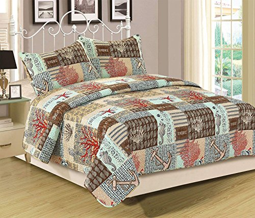 Nautical Coral Anchor - HowPlumb King Quilt Set 3 Piece Bedspread Coverlet Blue Nautical Anchor Coral