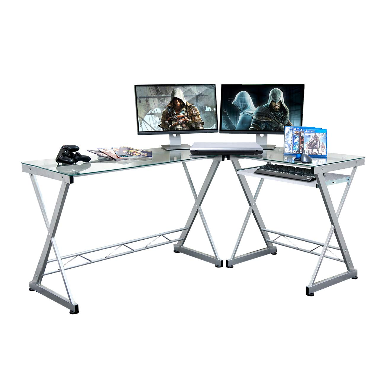 Techni sport Gaming Desk Collection Style Reno – Multi Monitors – X Shapes – Tempered Glass Top – Keyboard Panel