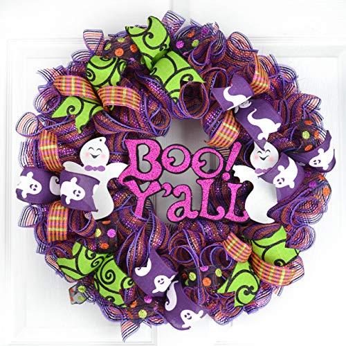 (Boo Y'all Halloween Door Wreaths | Purple Boo Mesh Outdoor Wreath | Purple Lime Green)