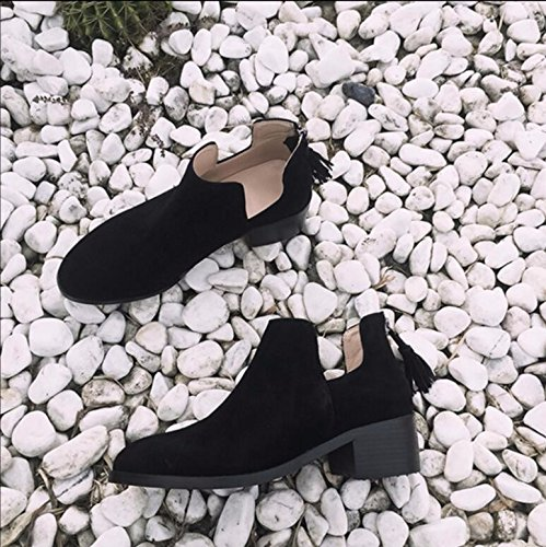 KHSKX-Black Round Head Bold And Women Shoes U-Boots Female Zipper-Su And Bare Boots Martin Boots 35 5Qsu9YGyAI