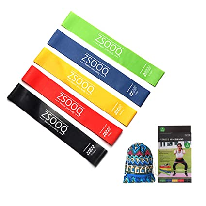 ZSOOQ Workout Resistance Bands Set-Yoga Exercise Fitness Bands for Legs and Butt Set of 5